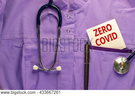 Covid-19 Zero Covid Symbol. Medical Uniform, White Card With Words Zero Covid, Metalic Pen And Steth