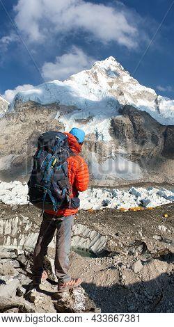 Mount Nuptse, Mount Everest Base Camp And Toutist, Khumbu Glacier, Sagarmatha National Park, Nepales