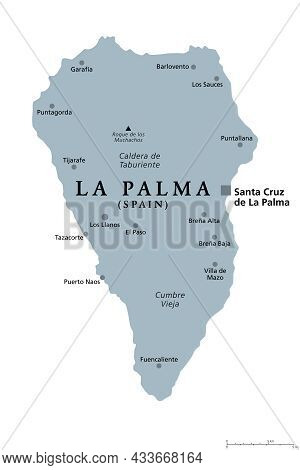 La Palma Island, Gray Political Map With Capital Santa Cruz. San Miguel De La Palma, North-western I