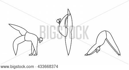 Set Of Linear Contours Of Women Do Yoga Do Yoga Isolated On White. Downward Facing Dog And Other Pos