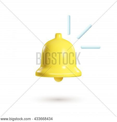 3d Notification Bell Isolated On White Background. 3d Realistic Render Of Ringing Bell. Social Media