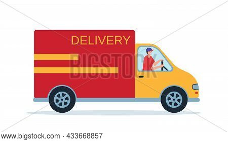 Delivery Car With Man. Smiling Courier Into Delivery Car. Online Delivery Service Concept, Online Or