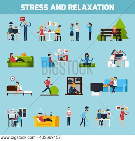 Stress And Relaxation Collection With People In Stressful Situations Ways Of Treatment And Preventio