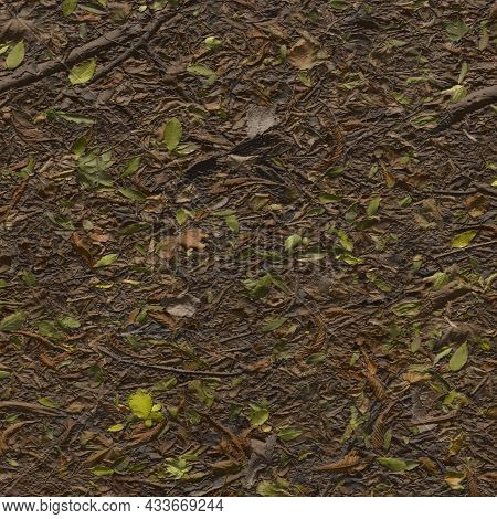 Wet Fallen Autumn Leaves. Dull, Wet, Multicolored Leaves Soaked In Rain. Abstract Textured Backgroun