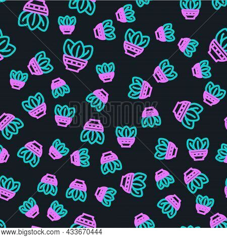 Line Plant In Pot Icon Isolated Seamless Pattern On Black Background. Plant Growing In A Pot. Potted