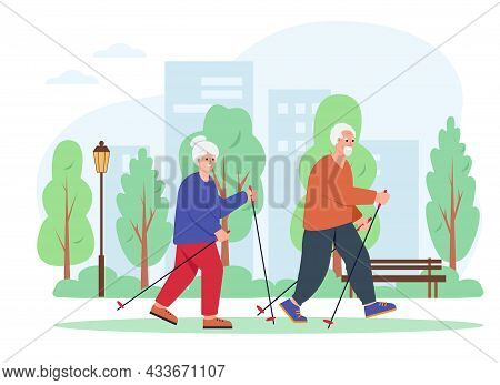 Elderly Couple Walking With Nordic Sticks In City Park. Senior Man And Woman Active Leisure Concept.