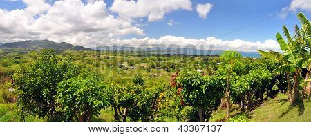 Panoramic view of the Fijian west coast. In the background the town of Nadi and Denarau Island. poster