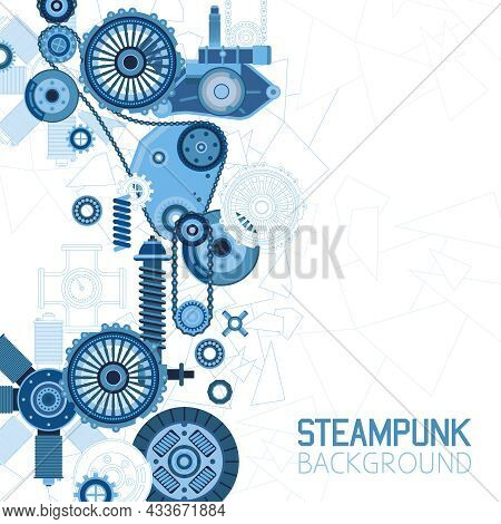 Steampunk Futuristic Background With Mechanical Engineering Industrial Parts Details And Elements Ve