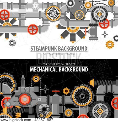 Abstract Technological Horizontal Banners With Industrial Technical Mechanical Elements And Objects