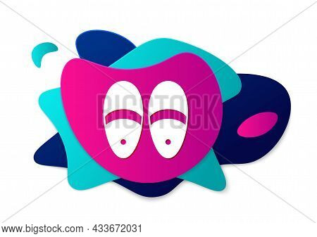 Color Slippers Icon Isolated On White Background. Flip Flops Sign. Abstract Banner With Liquid Shape
