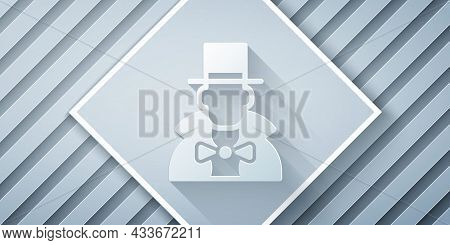 Paper Cut Magician Icon Isolated On Grey Background. Paper Art Style. Vector