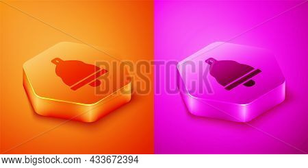 Isometric Church Bell Icon Isolated On Orange And Pink Background. Alarm Symbol, Service Bell, Handb