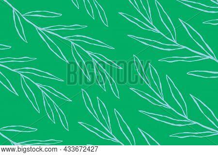 Blue eucalyptus leaf pattern on green botanical background