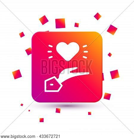 White Pleasant Relationship Icon Isolated On White Background. Romantic Relationship Or Pleasant Mee