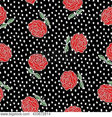 Vintage Roses Seamless Pattern. Red Flowers And White Dots On Black. Hand Drawn Garden Plant. Floral