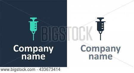 Logotype Syringe Icon Isolated On White Background. Syringe For Vaccine, Vaccination, Injection, Flu