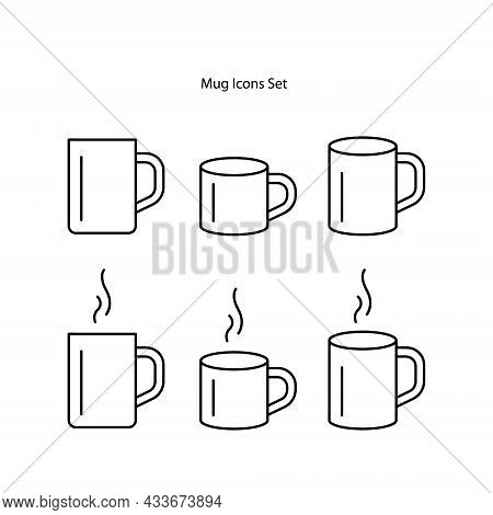 Mug Icons Set Isolated On White Background. Mug Icon Thin Line Outline Linear Beer Mug Symbol For Lo