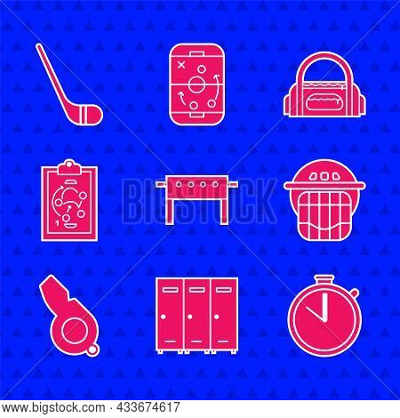 Set Hockey Table, Locker Or Changing Room, Stopwatch, Helmet, Whistle, Planning Strategy, Sport Bag