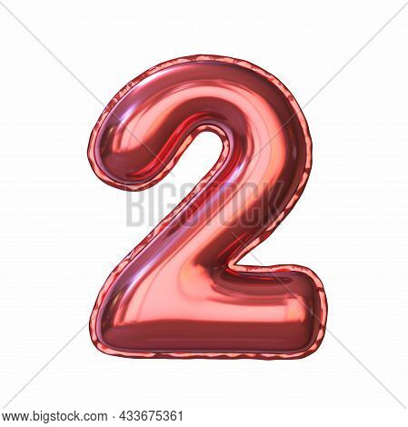 Red Metallic Balloon Font Number 2 Two 3d Rendering Illustration Isolated On White Background
