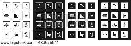 Set Floor Lamp, Staircase, Sofa, Office Chair, Chair, Table, And Chandelier Icon. Vector