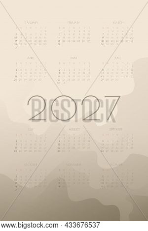 2027 Calendar With Olive Khaki  Gradient Fluid Wave Shapes. Vertical Annual Template For Print And D