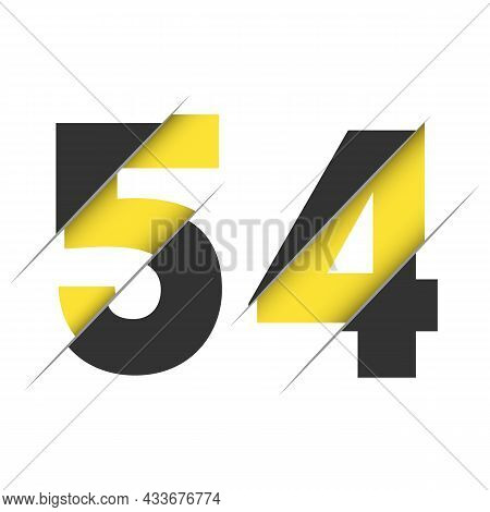 54 5 4 Number Logo Design With A Creative Cut And Black Circle Background. Creative Logo Design.