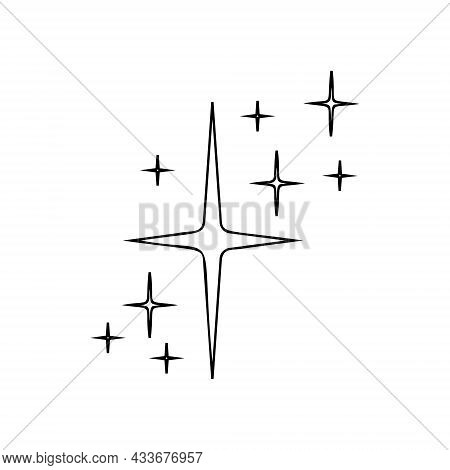 Outline Starry Twinkles And Sparkles Icon. Bright Flash, Shiny Glow, Firework Symbol. Linear Star Li