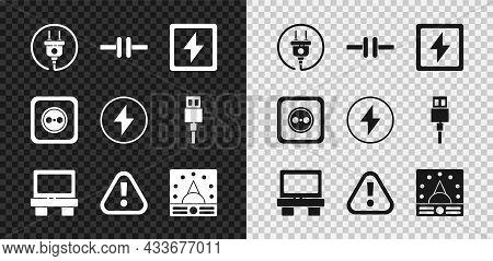 Set Electric Plug, Circuit Scheme, Lightning Bolt, Fuse, Exclamation Mark Triangle, Ampere Meter, Mu