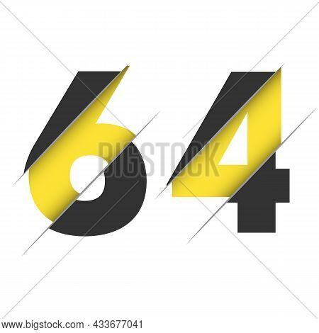 64 6 4 Number Logo Design With A Creative Cut And Black Circle Background. Creative Logo Design.