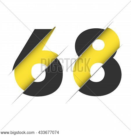68 6 8 Number Logo Design With A Creative Cut And Black Circle Background. Creative Logo Design.