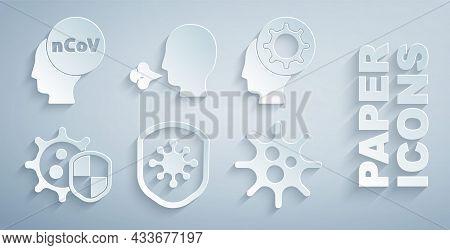 Set Shield Protecting From Virus, Human And, Virus, Man Coughing And Corona 2019-ncov Icon. Vector
