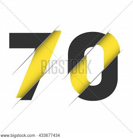 70 7 0 Number Logo Design With A Creative Cut And Black Circle Background. Creative Logo Design.