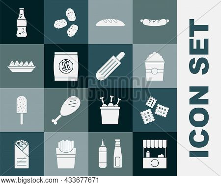 Set Street Stall With Awning, Cracker Biscuit, Popcorn Box, Bread Loaf, Hard Bread Chucks Crackers,