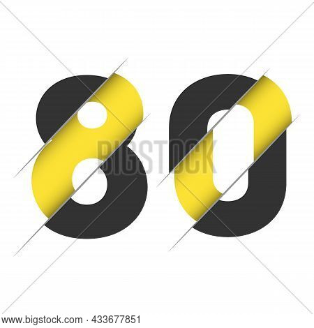 80 Th Years Old Logotype. Isolated Simple Abstract Graphic Symbol Of 80. Straight Elegant Cut Number