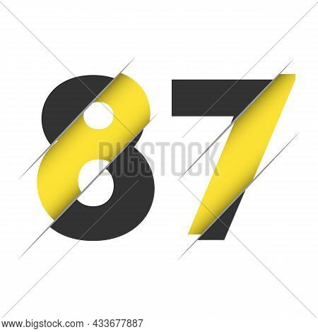 87 8 7 Number Logo Design With A Creative Cut And Black Circle Background. Creative Logo Design.
