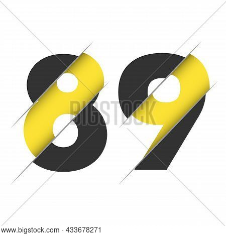 89 8 9 Number Logo Design With A Creative Cut And Black Circle Background. Creative Logo Design.