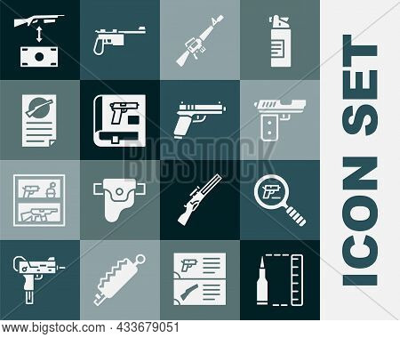 Set Bullet, Pistol Or Gun Search, M16a1 Rifle, Book With Pistol, Firearms License Certificate, Buyin