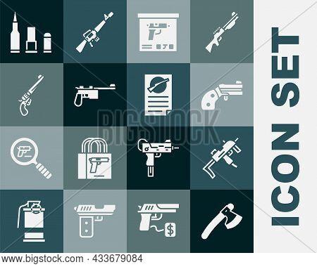 Set Wooden Axe, Mp9i Submachine Gun, Small Revolver, Military Ammunition Box, Mauser, Revolver, Bull