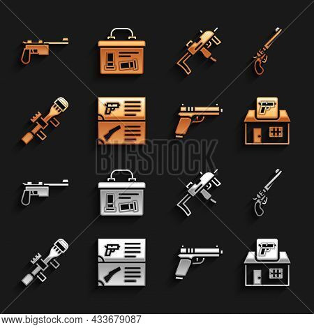 Set Weapon Catalog, Revolver Gun, Hunting Shop Weapon, Pistol Or, Sniper Optical Sight, Mp9i Submach