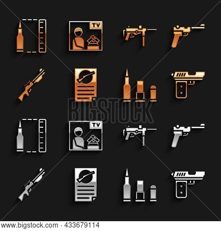 Set Firearms License Certificate, Mauser Gun, Pistol Or, Bullet, Hunting, Submachine M3, And Adverti