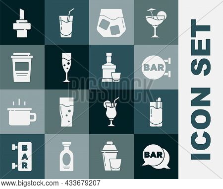 Set Street Signboard With Bar, Cocktail Bloody Mary, Glass Of Whiskey, Champagne, Coffee Cup To Go,