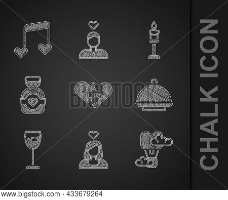 Set Broken Heart Or Divorce, Couple In Love, Romantic Hot Air Balloon, Covered With Tray, Wine Glass