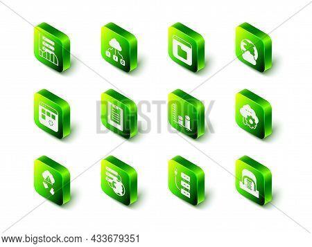 Set Cloud Technology Data Transfer, Browser Files, Social Network, Hangar With Servers, Data Analysi