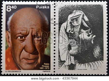 A stamp printed in Poland shows Pablo Picasso was a Spanish painter draughtsman and sculptor