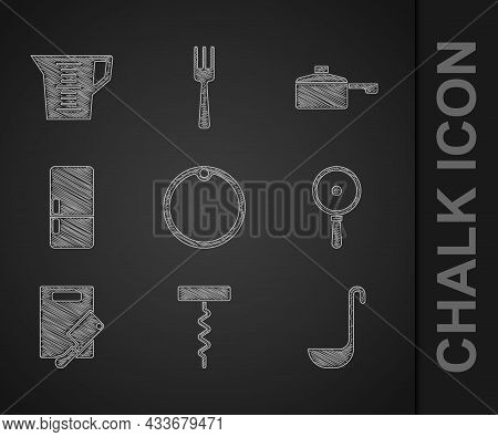 Set Cutting Board, Wine Corkscrew, Kitchen Ladle, Frying Pan, And Meat Chopper, Refrigerator, And Me