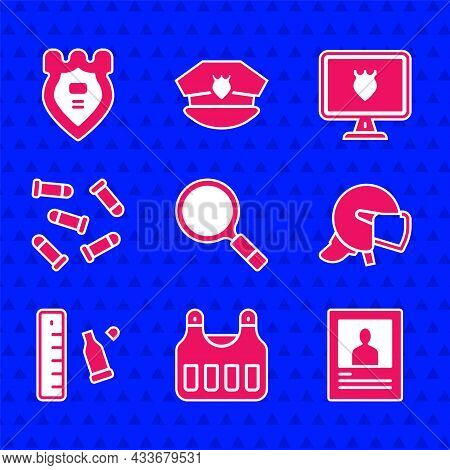 Set Magnifying Glass With Search, Bulletproof Vest, Wanted Poster, Police Helmet, Casing Ruler, Data