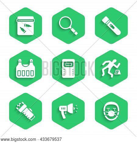 Set Police Assault Shield, Megaphone, Doctor Pathologist, Crime Scene, Electric Shocker, Bulletproof