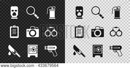 Set Balaclava, Magnifying Glass With Search, Hand Smoke Grenade, Bloody Knife, Safe, Police Electric