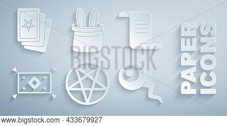 Set Pentagram In A Circle, Ancient Magic Book, Magic Carpet, Eye, Magician Hat And Rabbit Ears And T