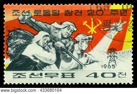 Stavropol, Russia - September 21. 2021: A Stamp Printed By  North Korea, Shows    Miner, Steelmaker